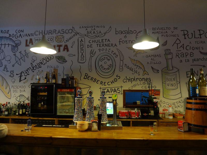 Graffiti behind bar